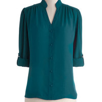 The Grand Tour Guide Top in Teal | Mod Retro Vintage Long Sleeve Shirts | ModCloth.com