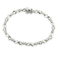 Lab-Created White Sapphire Infinity Link Bracelet in Sterling Silver - View All Bracelets - Zales
