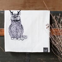 The Original Wild Catalope - Hand Printed Flour Sack towel Funny Humor Cat with Antlers Kitchen Dish Towel - by Bark Decor