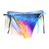 "The Original ""Splash Dyed"" Hand PAINTED Low Cut Side Tie Bikini Swimsuit Bottoms in White Spectrum Rainbow - XS S M L XL"