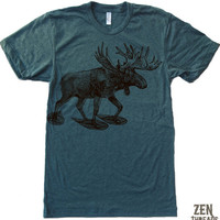 Men's MOOSE (in Snow Shoes) t shirt american apparel S M L XL (17 Color Options)