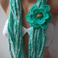 LOTUS - Crochet infinity  Scarf  Elegant Scarf   Wool Scarf  Soft Scarf   Very Soft....light  turkuaz