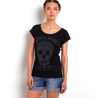 Pure Cotton Jersey Round Neck T-Shirt with Stud Detail