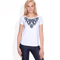 Pure Cotton Jersey Embroidered Short-Sleeved T-Shirt