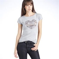 Stretch Jersey Heart Print T-Shirt