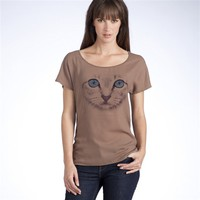 Dual Fabric Short-Sleeved Cat Print T-Shirt