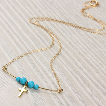 """Gold cross necklace, 14k gold filled cross necklace, turquoise necklace, tiny cross pendant,  faith necklace,  beaded necklace,  """"Aia"""""""