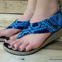 Abbie Vegan Womens Wedge Sandals In Brilliant Blu Hmong Embroidery and Batik