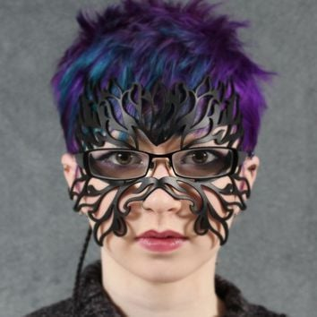 Filigree Flame leather mask in black for eyeglasses | TomBanwell - Leather Craft on ArtFire