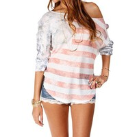 White American Flag Print Top