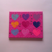 Hearts and arrows acrylic canvas painting for baby girls room