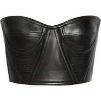 Balmain | Cropped underwired leather bustier | NET-A-PORTER.COM
