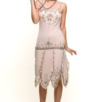 ROARING 20's Cream Beaded Flapper Gatsby Dress - Unique Vintage - Prom dresses, retro dresses, retro swimsuits.