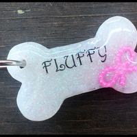 Glitter and Bow Bone Dog Tag - Personalized Custom Handmade Dog Pet ID - Resin Girlie Colorful Pink Bow - Glitter Dog Collar Accessory Cute