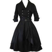 Amazon.com: Skelapparel Gothic Lolita Black Belted Military Swing Dress: Clothing