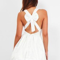 White Skater Large Bow Tie Backless Satin Dress V Front