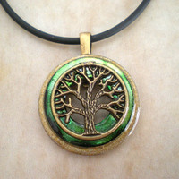 Tree of Life Necklace: Green - Tree Jewelry - Men's Necklace - Men's Jewelry - Wiccan Jewelry - Father's Day - Celtic Jewelry