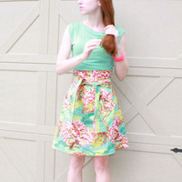 Amy Butler T Shirt Dress for Women in Sea Foam Green and Cherry Blossoms xs s m l xl xxl