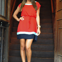 Try And Block Me Dress: Red/Mint | Hope's
