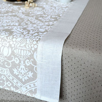 Occasion Table Runner With White Print And White Linen Borders  17 x 72 inches