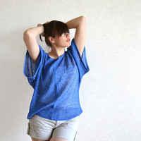 Blue Loose Backless Top / Blouse / Shirt / Tunic Knitted Linen, Custom Sizes And Colors