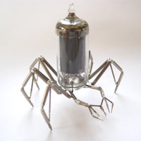 Vacuum Tube Spider Sculpture No 3 Mechanical Recycled Watch Parts Clockwork Arachnid Figurine Stems Lightbulb Arthropod A Mechanical Mind
