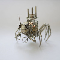"Mechanical Spider Sculpture ""Arachnius Rex"" Recycled Watch Parts Clockwork Arachnid Figurine Stems Lightbulb Arthropod A Mechanical Mind"
