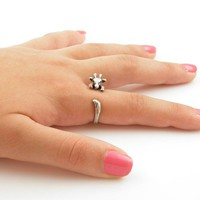 Giraffe Animal Wrap Ring - Silver