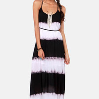 Costa Blanca Tie-Dye-al Wave Black and White Maxi Dress