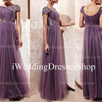 A Line Cap Sleeves O Neck  with Beading Crystal Purple Tulle Long Prom Dress, Evening Gown, Prom Gown, wedding Party Dresses, Evening Dress
