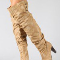 Vevay-1 Button Slouchy Thigh High Boot