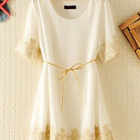 Embroided Chiffon Lace Dress