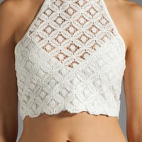 Somedays Lovin Some Like It Hot Lace Tie Up Crop Top in White from REVOLVEclothing.com