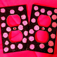 Glittered Polka Dots Outlet & Light Switch by MelaniesGlittermania