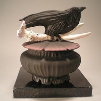 Crow Antler Box by Nancy Y Adams: Ceramic Box - Artful Home