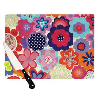 "Louise Machado ""Patchwork Flowers"" Cutting Board 