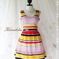 Jazzie lll - Stripe Print Dress Stunning Color Stripe Summer Sundress Party Dress
