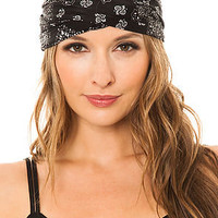 See You Monday Turban Black Bandana in Black