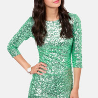 TFNC Paris Mint Green Sequin Dress