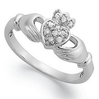 Diamond Ring, Sterling Silver Diamond Claddagh Ring (1/10 ct. t.w.) - Rings - Jewelry & Watches - Macy's
