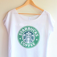 ON SALE - Starbucks Lose Shoulder Crop T-shirt