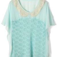 Lace Peter Pan Collar Seafoam Chiffon Top
