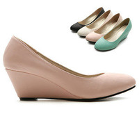 ollio Womens Pumps Platforms Slip-on Medium Wedge Heels Multi Colored Shoes