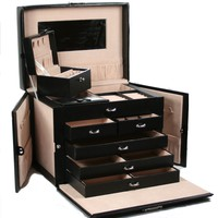 HUGE BLACK LEATHER JEWELRY BOX