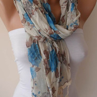 Blue Linen Scarf with Beige Trim Edge