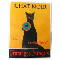 Chat Noir Magnet, Vintage French Black Cat Cheese Advertisement