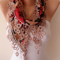 Gift Scarf - Summer Scarf  - Burgundy and Brown Scarf with Beige Trim Edge