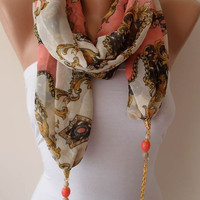 Salmon and Golden Color - Jewelry Scarf - Chiffon Fabric with Beads and Chain