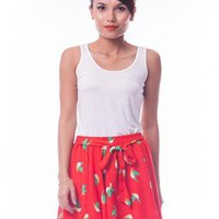 Red Skirt with Bird Print