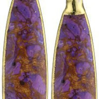 "Devon Leigh ""Nature's Wonders"" Purple Turquoise in 24k Gold Foil On 14K Gold Fill Ear Wire Earrings"
